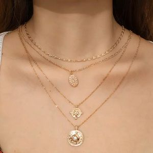 Gold Coin Rosary Pendant Layering Necklace